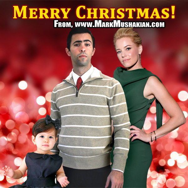 Mark Mushakian Merry Christmas card with Elizabeth Banks and kid