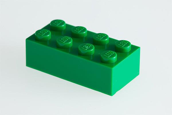 green classic 2x4 Lego brick