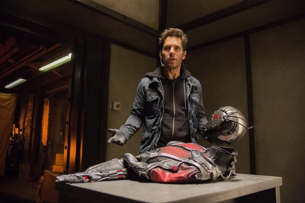 Paul Rudd with Ant Man suit
