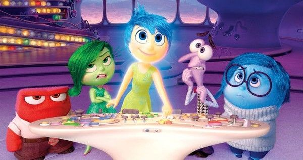 Inside Out Anger, Disgust, Joy, Fear, and Sadness at control panel
