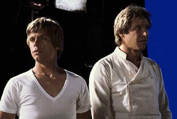 Luke and Han in behind the scenes prep for Return of the Jedi scene