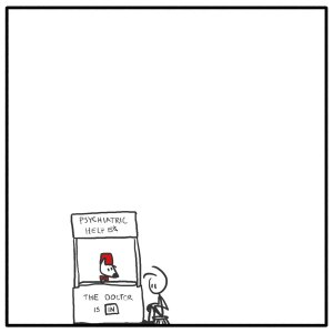 Out of the Box weekly stick figure web comic Peanuts reference doctor 245 Who Is In