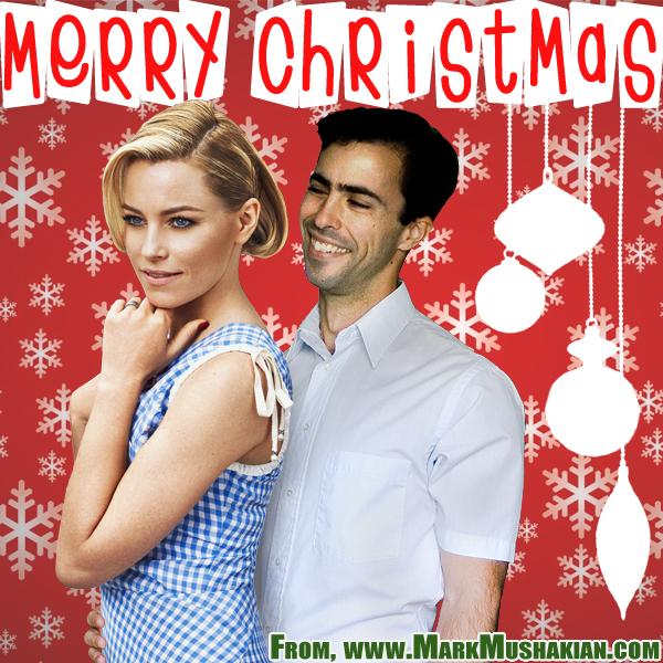 Merry Christmas card Mark Mushakian Elizabeth Banks retro