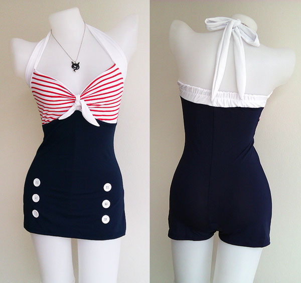 retro halter swimsuit with buttons
