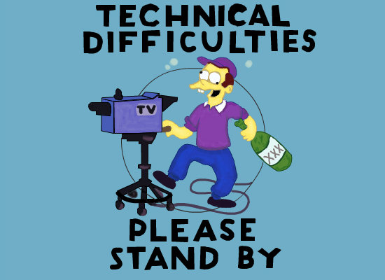 Simpsons technical difficulties drunk cameraman
