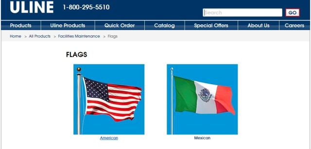 Uline American Mexican flag options