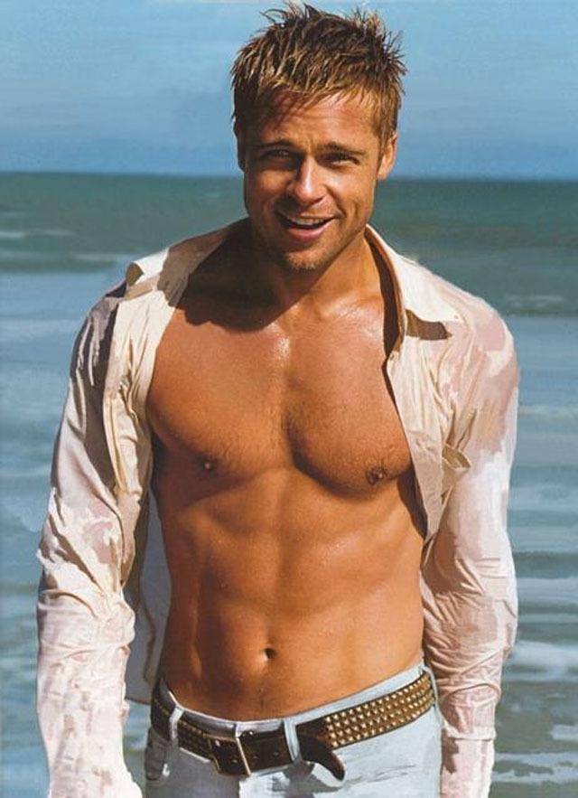 Brad Pitt shirtless beach
